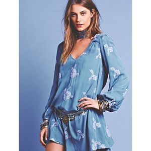 Free People Embroidered Austin Mini Dress Sz XS